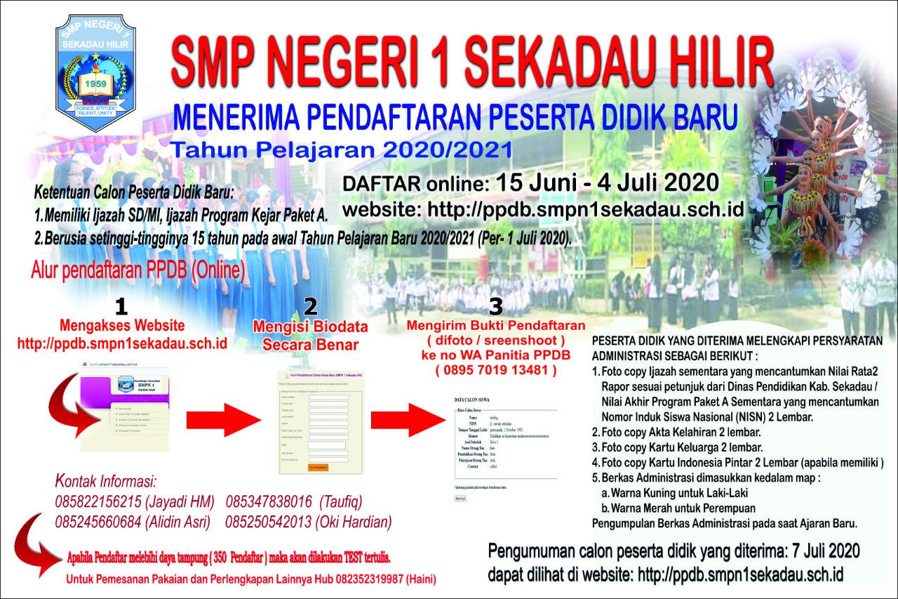 brosur PPDB SMPN1 Skd Hilir